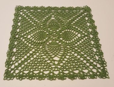 Green 9 inch square doily